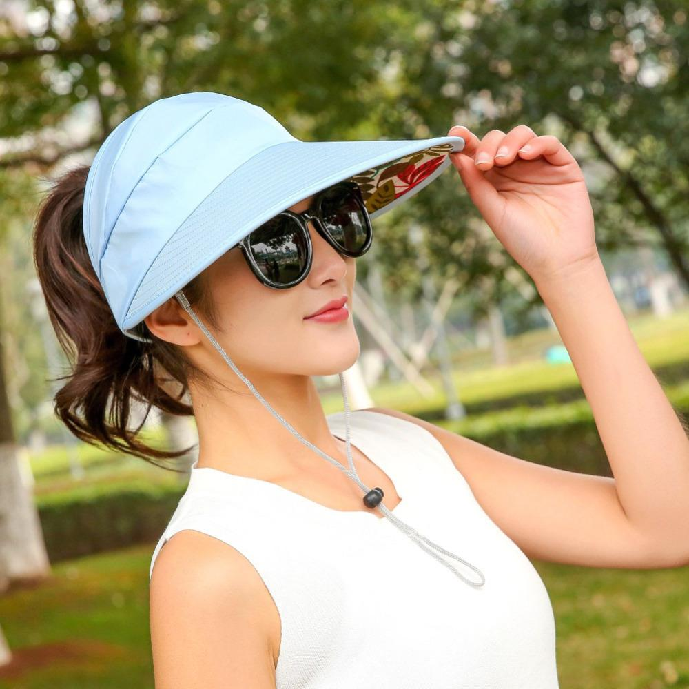 Women Anti UV Sun Hat Foldable Summer Beach Hat Wide Brim Visor Ladies  Sunproof Empty Top Hats With Adjustable Strap Hats In The Belfry Knit Hats  From ... 68945be7693