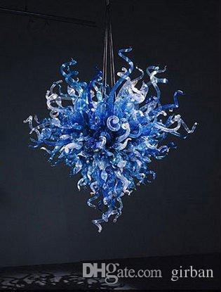 Azules hechos a mano soplado de techo de cristal de Murano Estilo decorativo Arte Moderno de la lámpara de la cocina decoración del hotel Luz pendiente