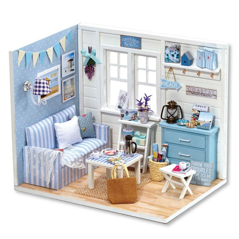Cute Room Diy Doll House Furniture Miniature Dust Cover 3d Wooden
