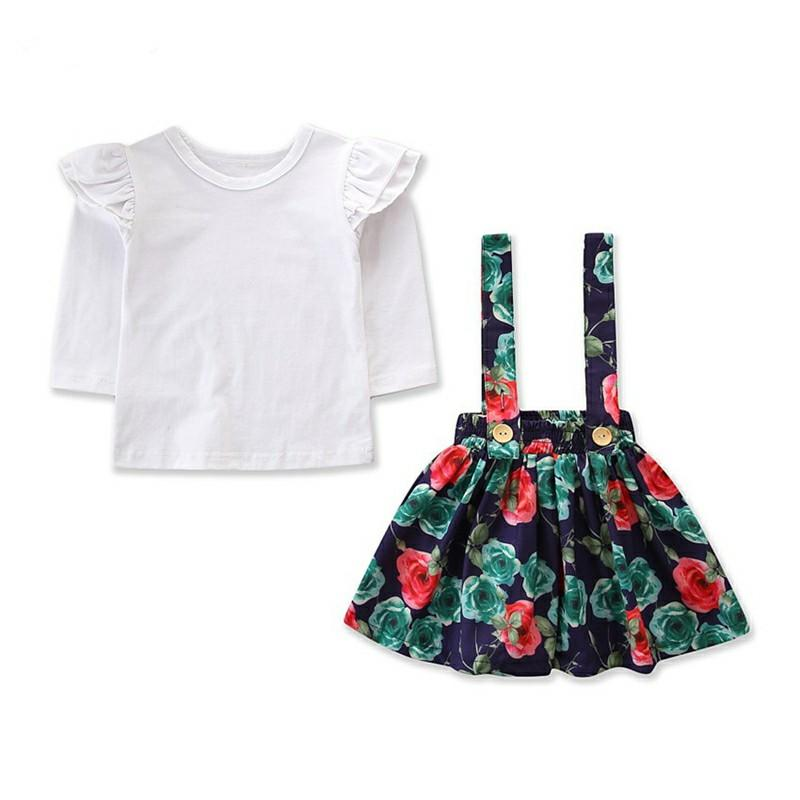 96410aed0 2019 Baby Girls Clothes Toddler Flower Suspender Skirts + White Tops ...