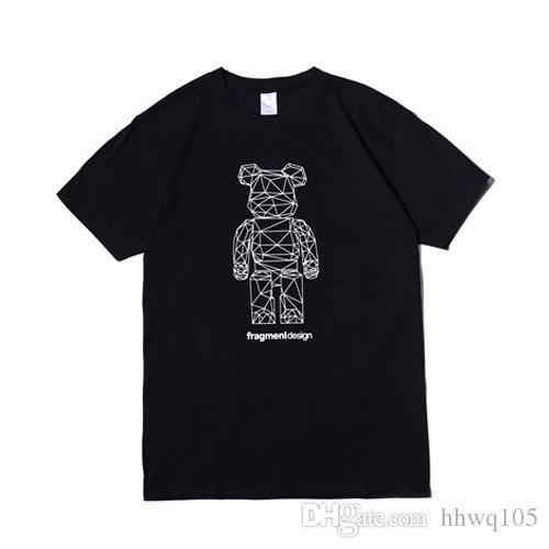 b270a80cc6 Compre Projeto Do Fragmento T Shirt Relâmpago Urso Impressão De Manga Curta Camisetas  Homens Legal Skate Tee Streetwear Mulheres Branco Camisa Preta LHH0316 ...