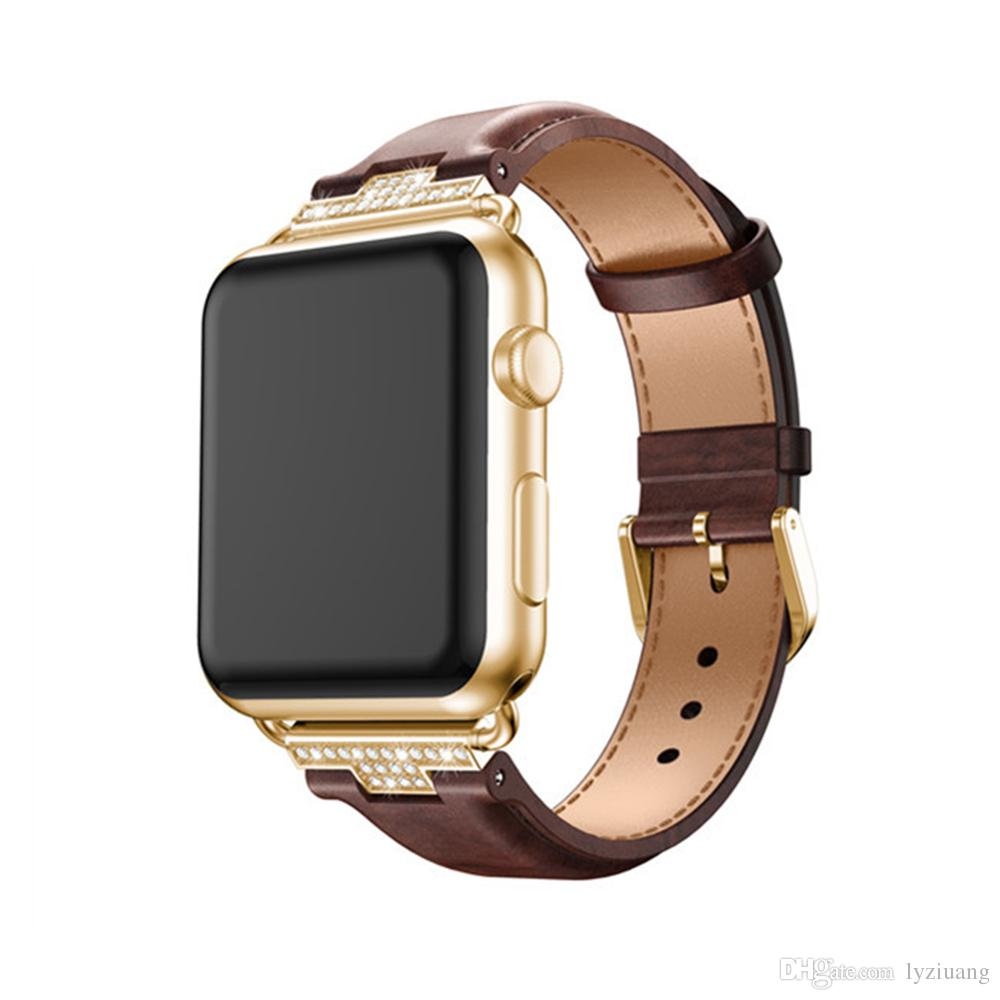 4ef2622e9899 2018 Luxury Genuine Leather Watchband For Apple Watch Leather Band Gold 38mm  42mm Series1 2 3 Strap For Iwatch Band Belt Leather Silicone Watch Bands ...