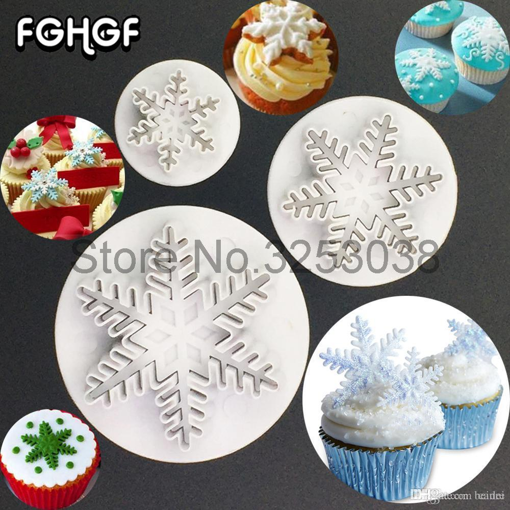 3Pcs Snowflake Fondant Sugar Craft Plunger Cutter Cake/Egg Tart Mold Cake Decorating Tools Cookie Cutter Baking Molds Z40