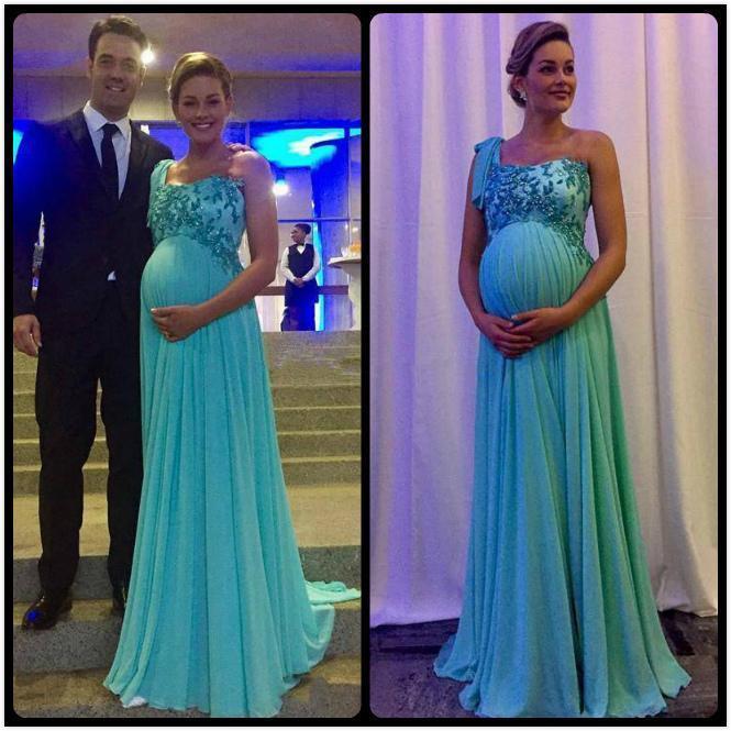 One Shoulder Pregnant Women Long Evening Dress Chiffon Floor Length Elegant  Long Dresses A Line Beading Gowns Maternity Formal Party Dress Exclusive  Evening ... cbdaf1033bd0