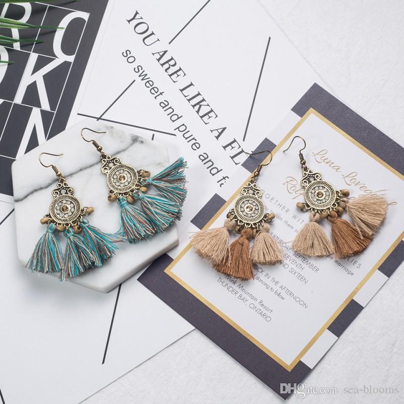 Tiered Fringe Drop Long Tassel Earrings Bohemian Thread Tassel Chandelier Drop Dangle Earrings with Wood Bead D922S