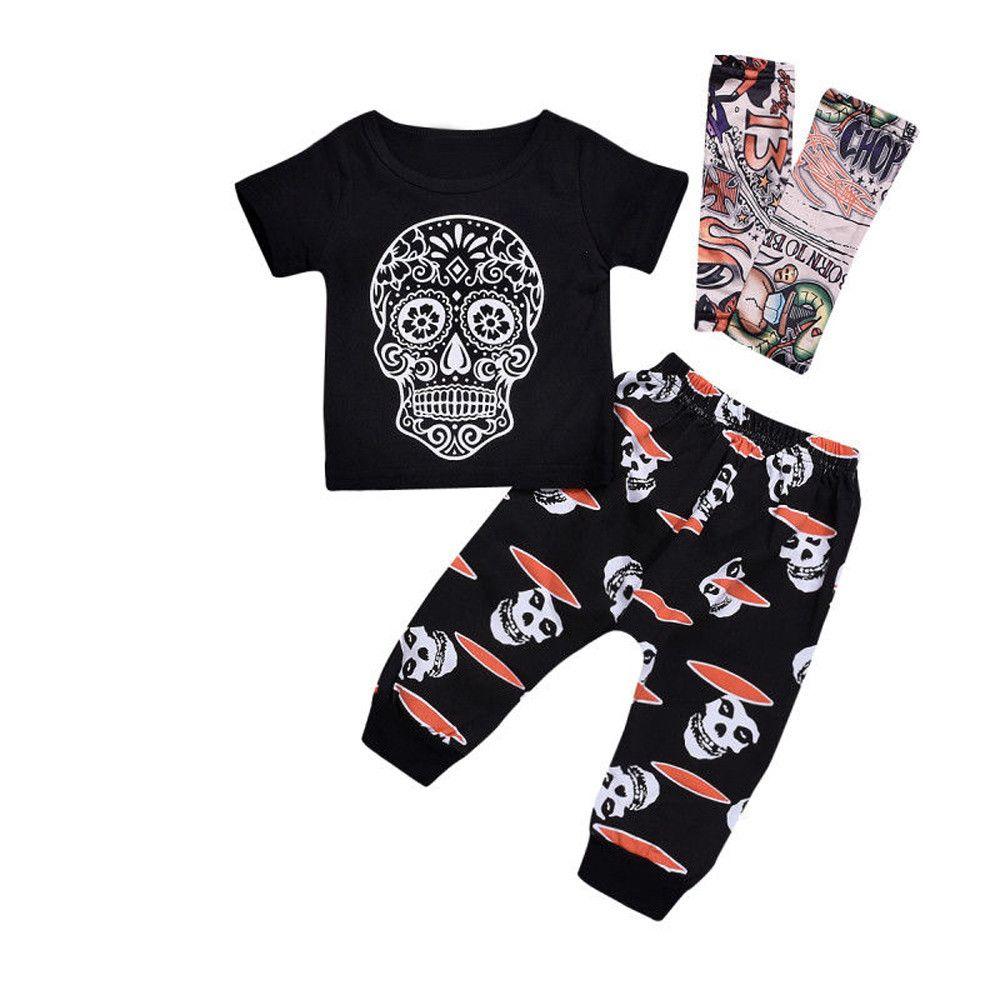 92d631a75 2019 MUQGEW Fashion Baby Boy Clothing Set Skull Short Sleeve Tops ...
