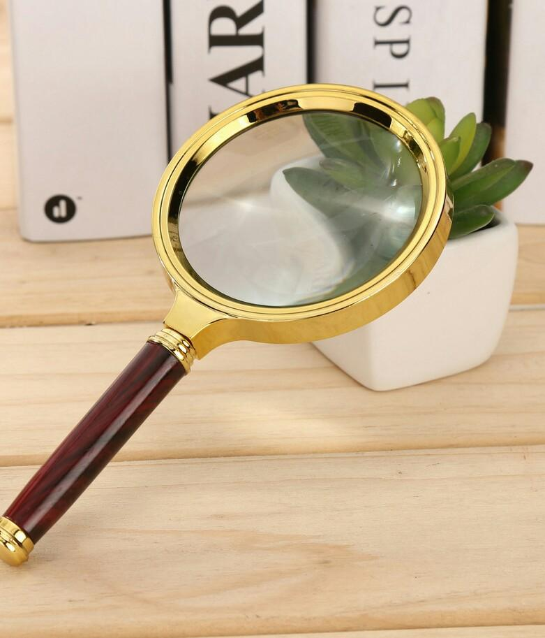 Golden Dragon Handle Magnifying Mirror High Definition 10 Times Old People Reading Handheld Jewelry And Jade Identification 80mm Hand Held Lighted