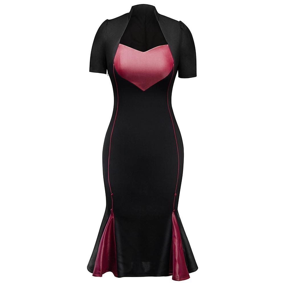 dc41b8986 Compre Vestido Ajustado De Sirena Vintage Mujer En Forma De Corazón De  Impresión Damas De Oficina Elegante Fiesta De Noche Gótico Negro Sexy  Dividir ...