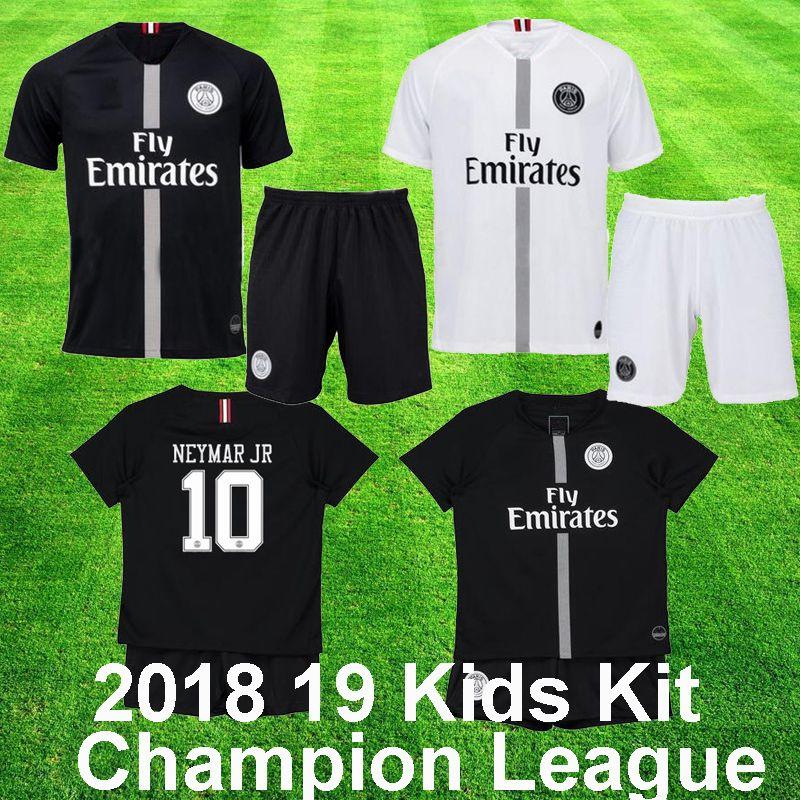 2018 19 PSG Jordan NEYMAR JR MBAPPE Niños Kit CAVANI KIMPEMBE VERRATTI Psg  Champion League Negro Blanco Niño UCL Uniforme De Fútbol Con Short Por ... 08637afd36214
