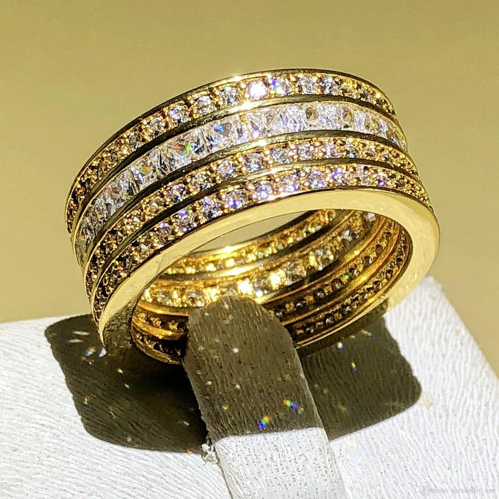 Lady Gold Ring 14ct Princess Cut Created White Sapphire Cubic