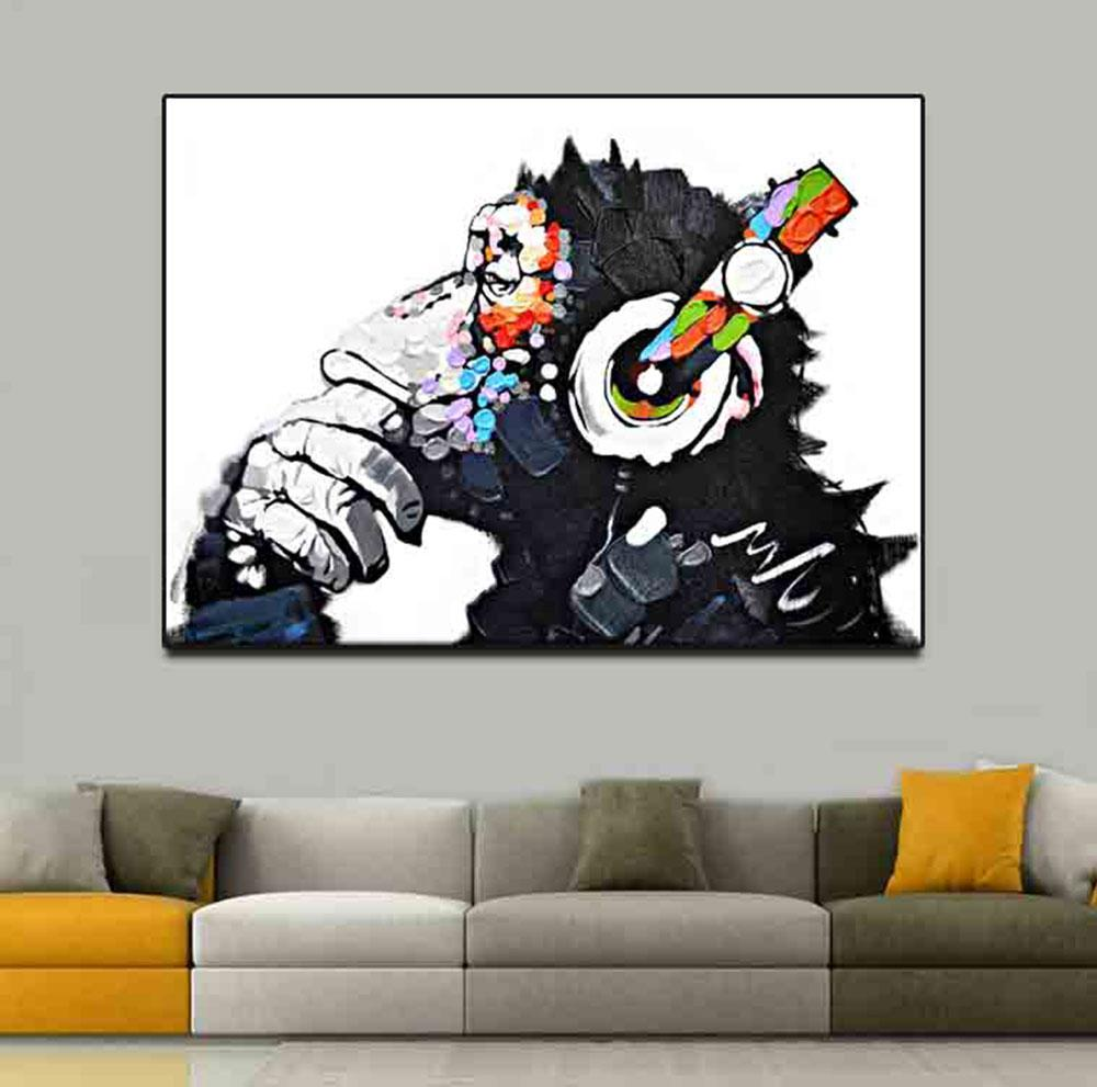 Canvas Printed Painting Animals Funny Monkey Picture Home Decor Abstract Thinking Monkey with Headphone Wall Art Large Poster
