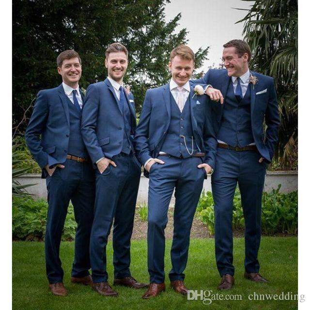 Özel Kraliyet Mavi Erkekler 2018 Düğün Slim Fit Smokin Suits 3 Parça Ceket + Pantolon + Yelek Skinny Terzi Damat Suits