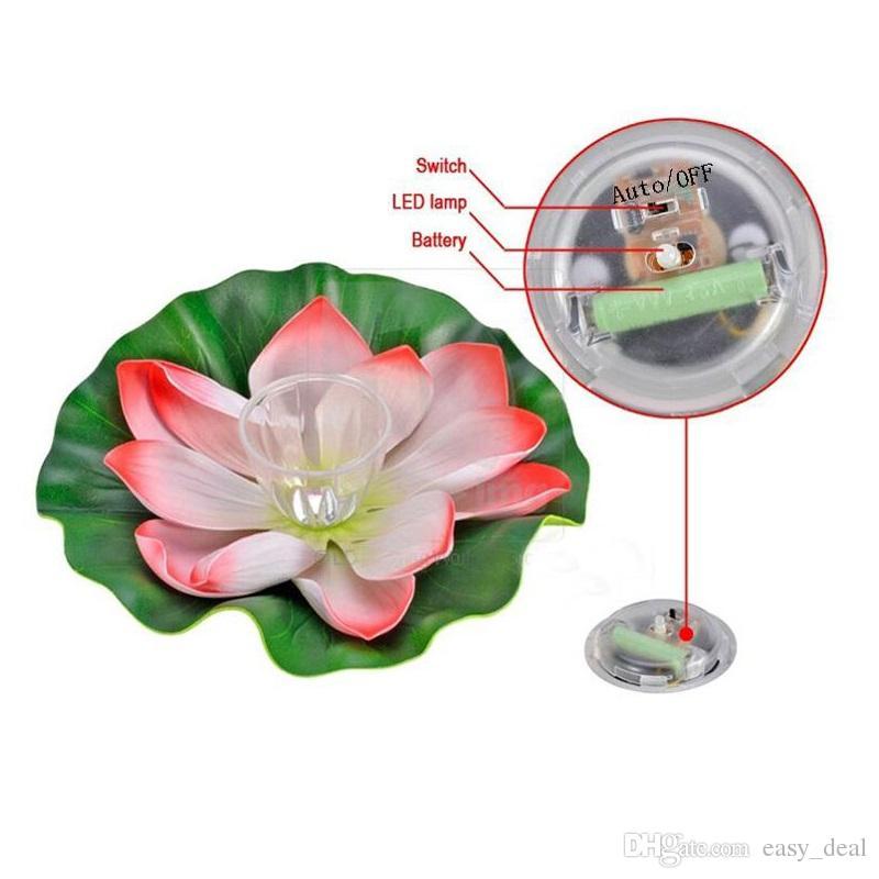 LED Solar Lotus Lantern Waterproof Float Light LED Floating Yard Pond Garden Pool Wishing Night Light ZA5596
