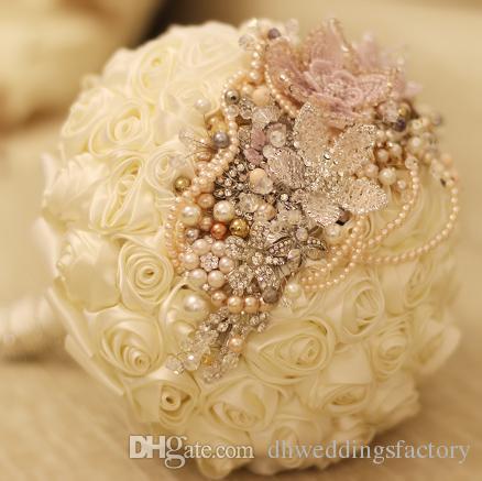 Grosshandel Hochzeit Bouquet Pink Sicke Perle Strass Bouquet Handmade