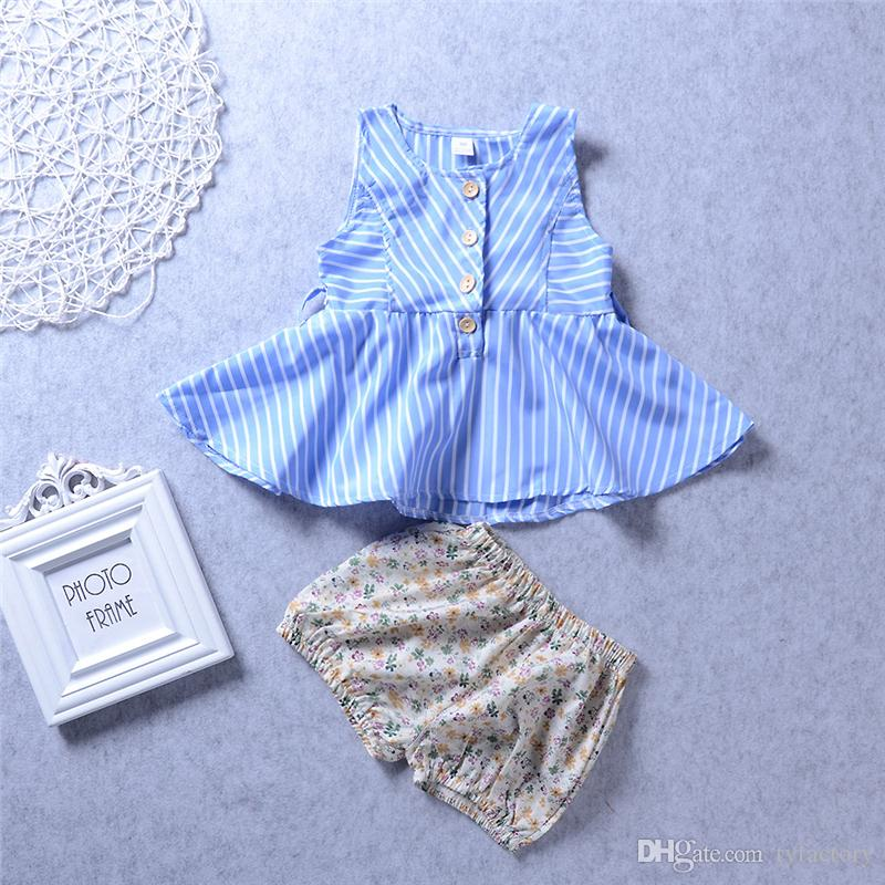 Fashion Kids Baby Girls Clothes Toddler Clothing Striped Tops + Flower Shorts Set Ruffle Dress Leggings Girl Boutique 6M-4Y