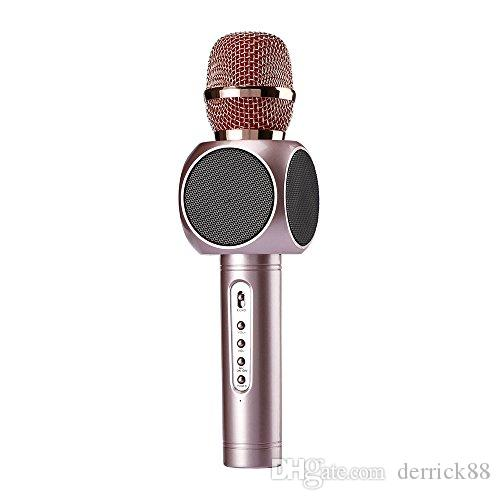 Mental Condenser Wirelss Bluetooth Recording Karaoke Microphone MIC with 360° Stereo Double Speaker Echo Effect 2600mah 10h of Working Time