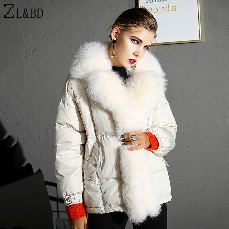 ZLBD Luxury Real Fuchspelzkragen Frauen Winter Daunenjacke und Mantel 2018 Dicke Ente Daunenjacke Feder Puffer ZA1174