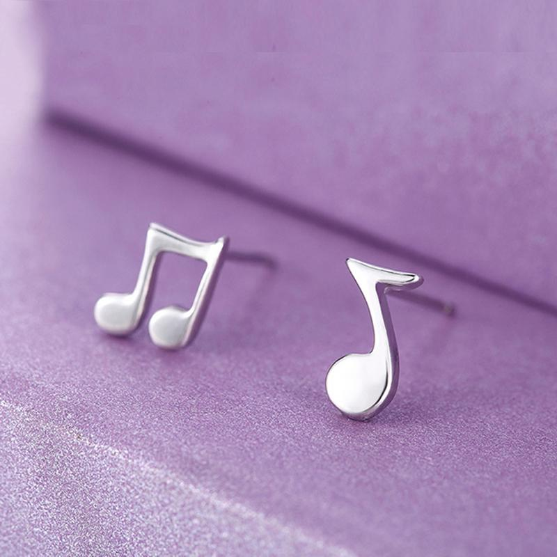 Fashion Punk Music Note Ear Studs Silver Black Stainless Steel Small Music Notes Stud Earrings Brincos Jewelry For Men Women C5