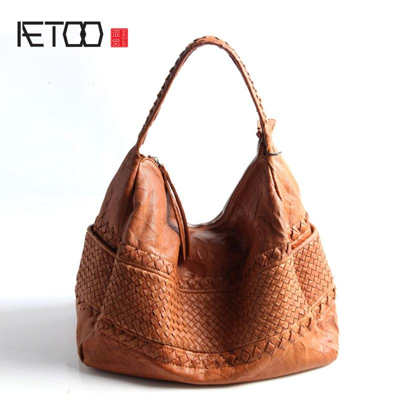AETOO Pure Leather Europe And The United States Japan South Korea Fashion  Handmade Retro Weaving Single Shoulder Handbags For Sale Personalized Bags  From ... adc5a64345