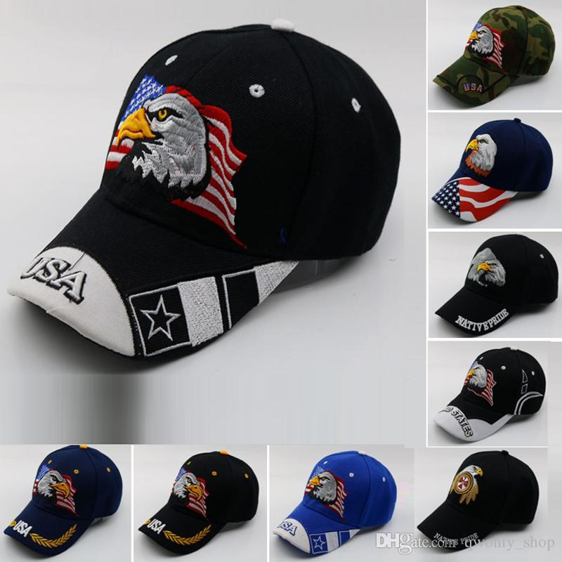 8d65db79fd3 2019 Black Cap USA Flag Eagle Embroidery Baseball Cap Snapback Caps  Casquette Hats Fitted Casual Gorras Dad Hats For Men Women From  Qwonly shop