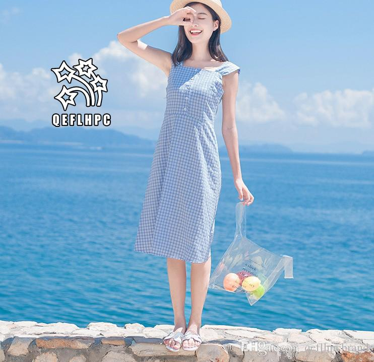 efa6472262e Women's clothes Dress Summer Sexy beach chiffon dress Thin Polyester  material Casual Dresses chambray Longuette Square Neck A21742