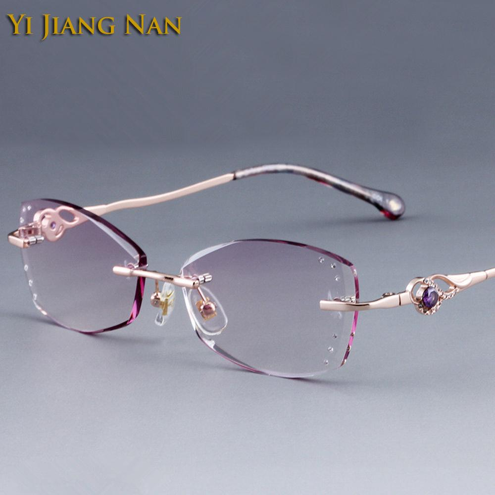 3c3bce7a64a9 2019 Yi Jiang Nan Brand Diamond Trimmed Rimless Titanium Eyeglasses Frames  Women Fashion Glasses Rhinestone Purple Lenses From Lbdwatches, $57.12 |  DHgate.