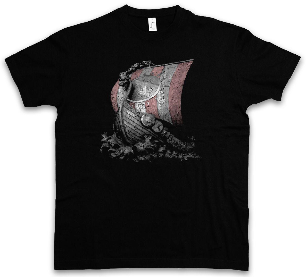 Großhandel Viking Schiff I T Shirt Wikinger Wikinger Longship Nordmänner  Skandinavier Wikinger Boot Coole Zufällige Stolz T Shirt Männer Von ... 2c00f440d0