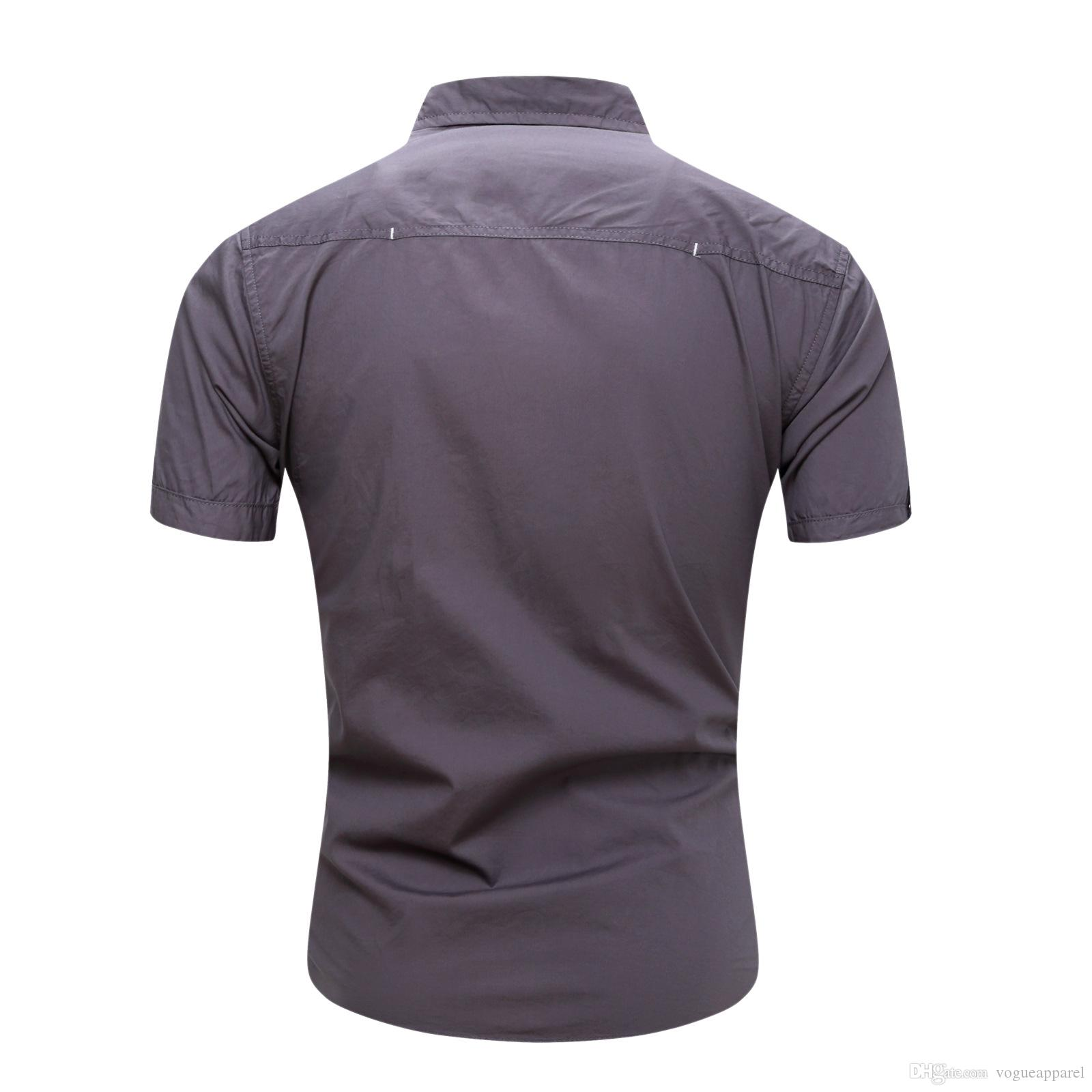 Men Shirts Casual Summer Shirt Short Sleeved Tops Male Sports Tees Single Breasted Pockets Design
