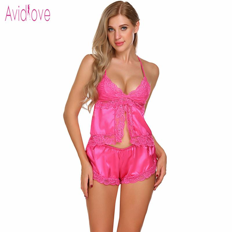 cef1c87e9c Avidlove Satin Pajama Set Women Top And Short Pant Pyjama Night Sexy Open  Front Lace Sleepwear Nightwear Suit Homewear Clothes Luxurious Nightwear  Luxury ...