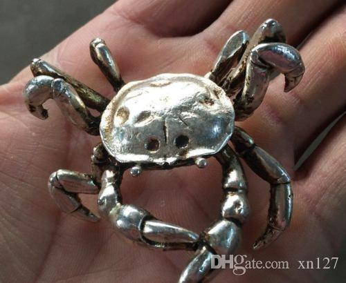 China 's old Miao silver carving the patron saint of the vivid crab