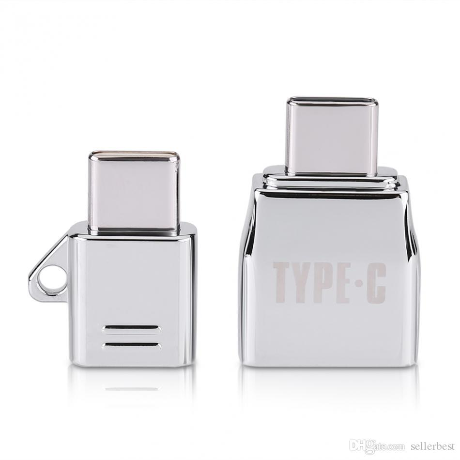 VBESTLIFE Type C OTG /Sets Micro USB Female to Type C USB Male OTG Adapter Charger Zinc Alloy Set Suit with Metal Lanyard