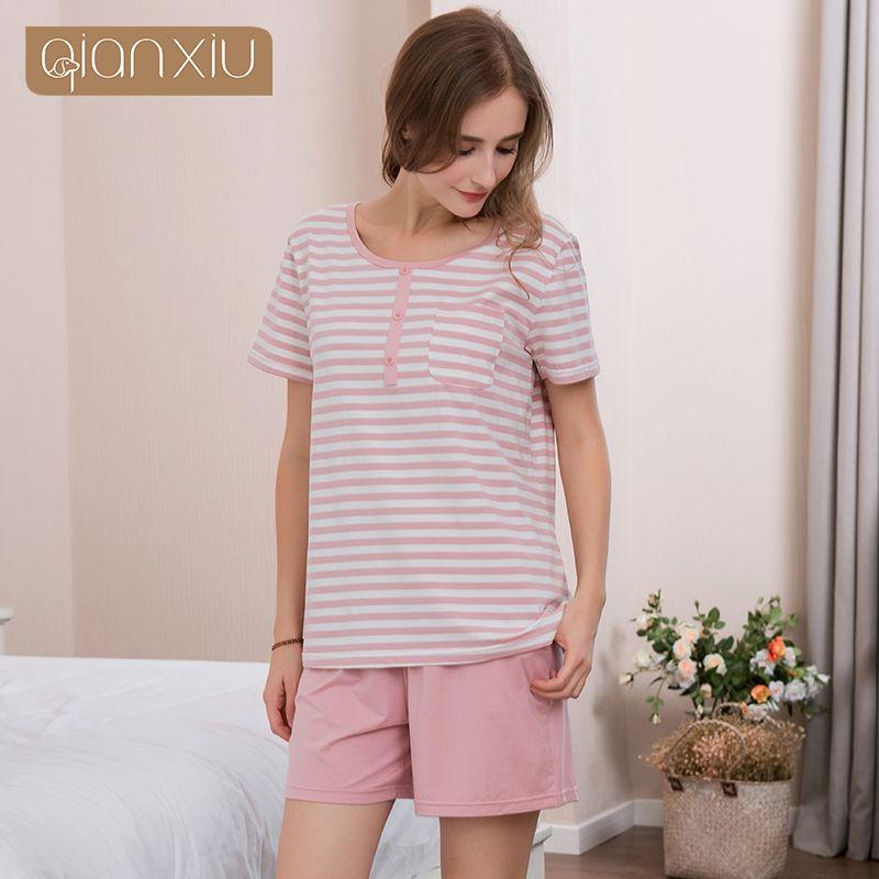 f3d46f508b 2018 Summer Female Casual Striped Pajama Sets Ladies 95% Cotton ...