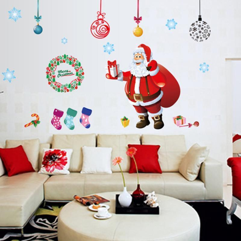 Merry Christmas Removable Stickers Shop Window Glass Wall Stickers Noel Christmas Decorations for Home Natal New Year Decoration Y18102909