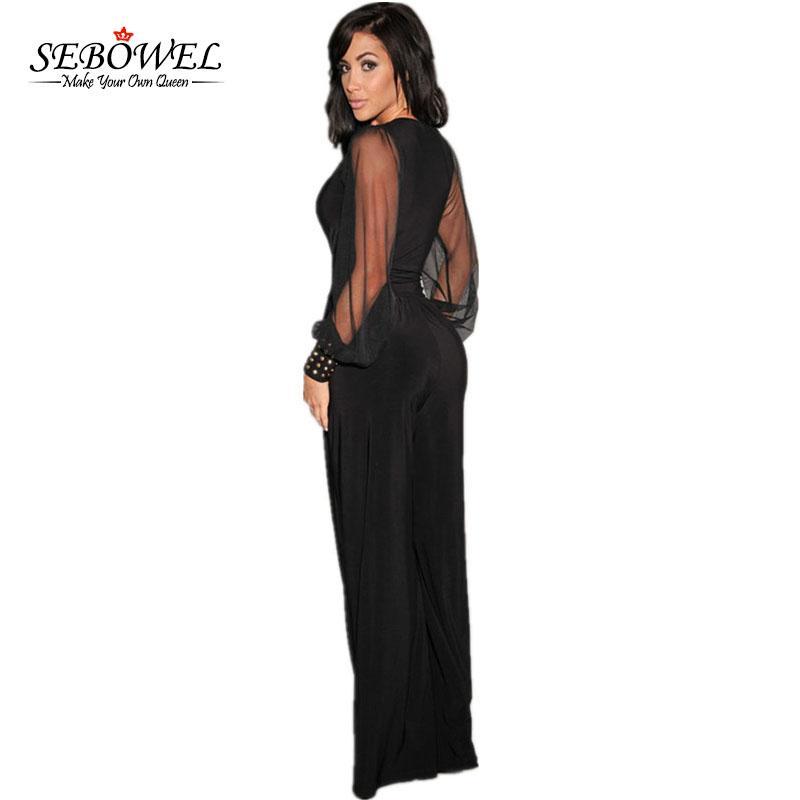 SEBOWEL Uzun Siyah tulum Bayan Tulum Kış Sonbahar Parti V yaka Embellished Manşetleri Mesh Kollu Gevşek Kulübü Pantolon Femme