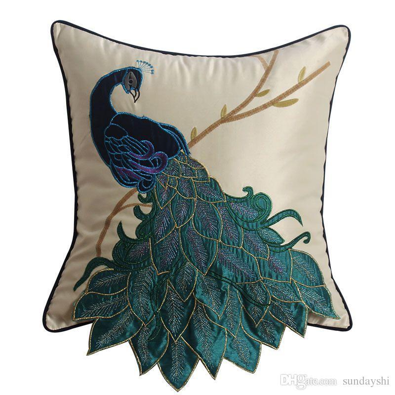 Luxury Handmade Peacock Cushion Faux Silk Decorative Embroidery Awesome Faux Silk Decorative Pillows