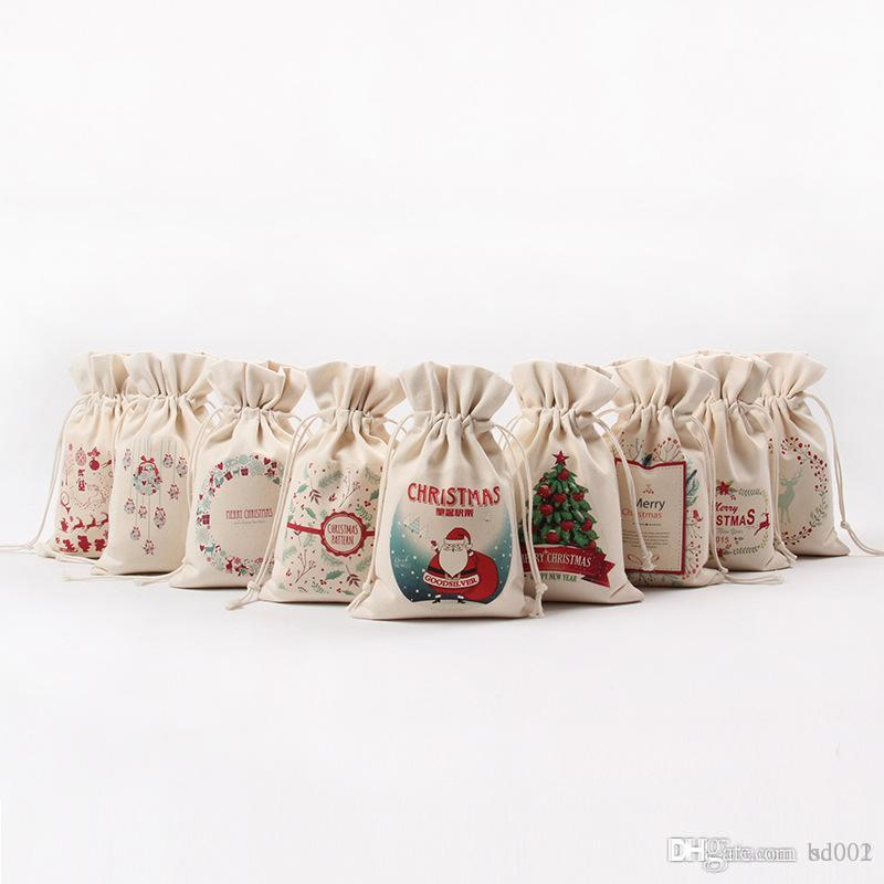 2018 christmas theme bundle pocket for many styles canvas drawstring bag creative gift storage bags 3 68xx c r from bd001 0 99 dhgate com