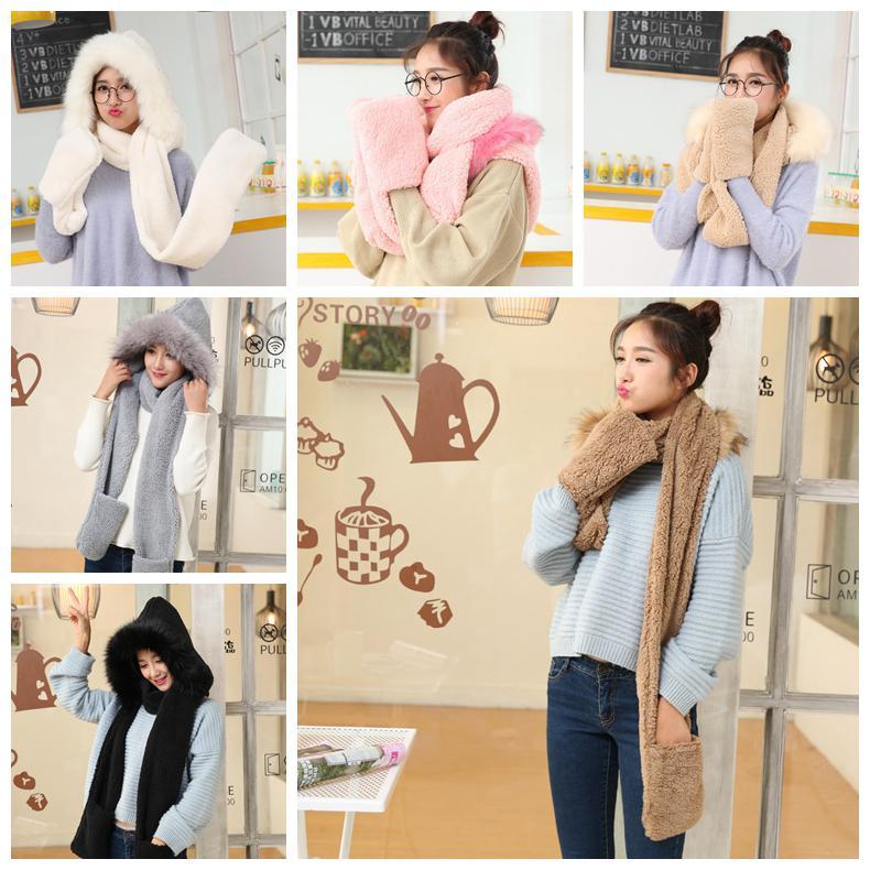 Women Faux Fleece Hood Scarf Cap Gloves Girls Soft Fur Winter Warm ... 7f8743766e6d