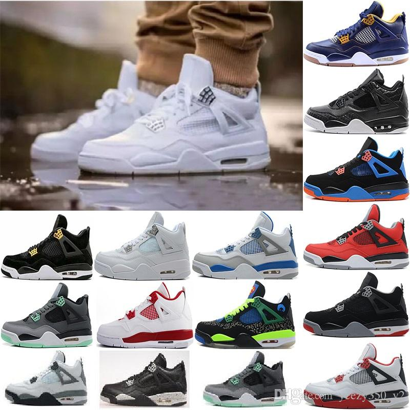 9e463b8818c 2018 4 4s Basketball Shoes Men 4s Pure Money Royalty White Cement Premium  Black Bred Fire Red Mens Sports Sneakers Size 8 US13 Boys Basketball Shoes  Cp3 ...