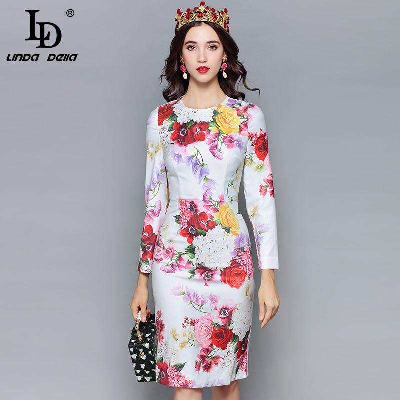 e2416fcccfd LD LINDA DELLA Fashion Designer Autumn Dress Women s Long Sleeve ...