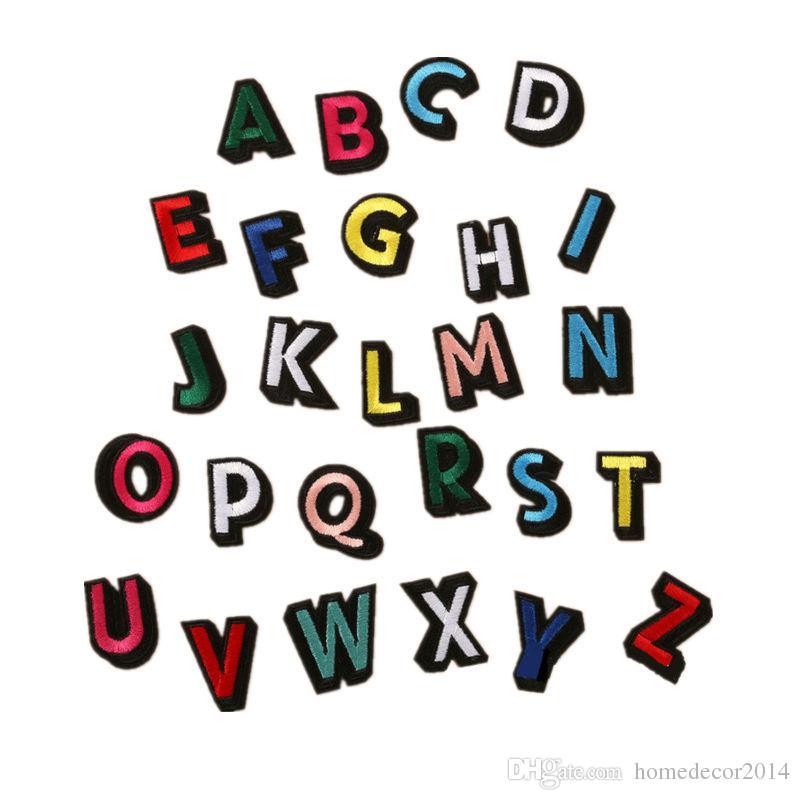 Großhandel 26 Buchstaben Alphabet Regenbogen 3d Vision Stickerei ...