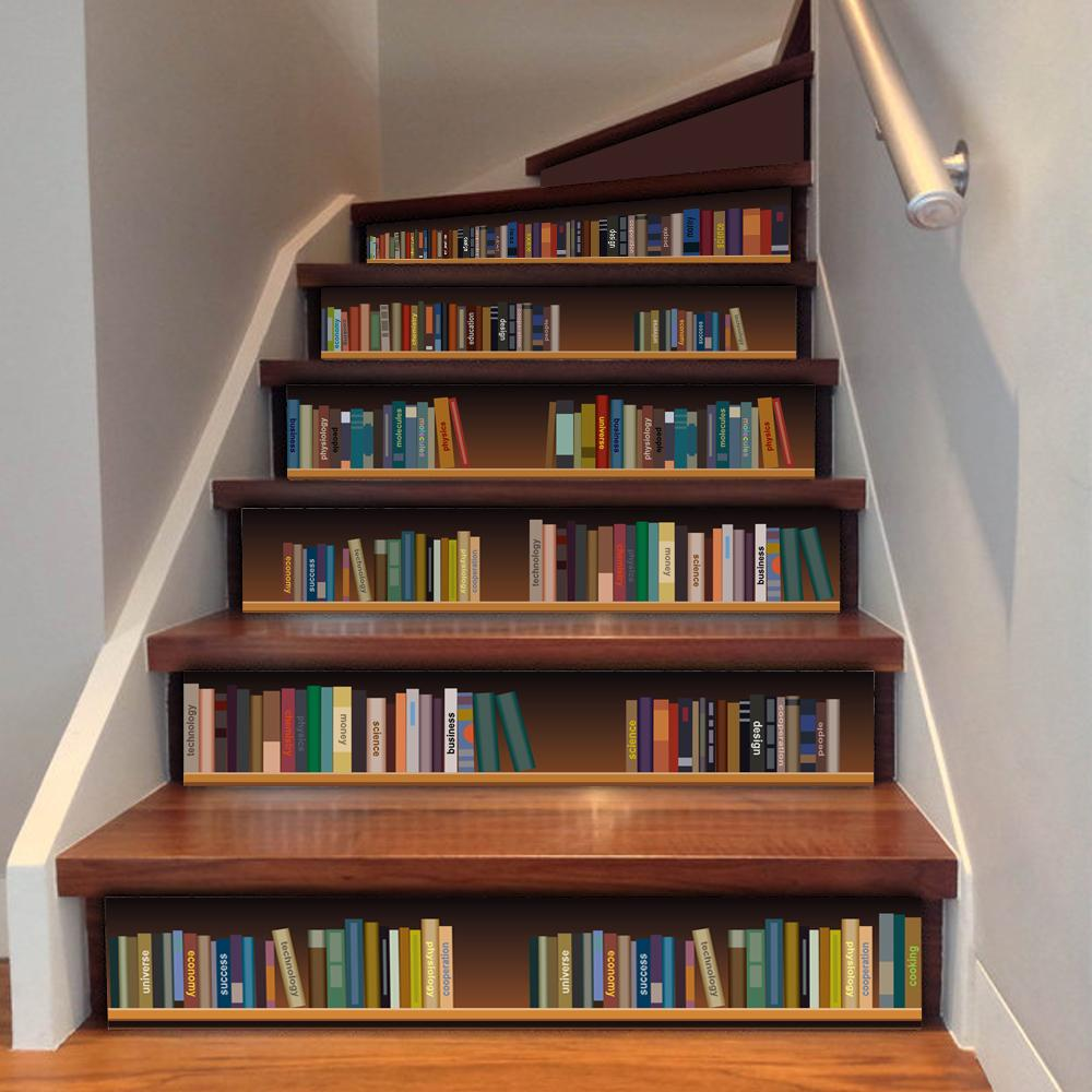 Cute diy 3d stairway stickers fake bookshelf stairs - Things to put on a wall ...