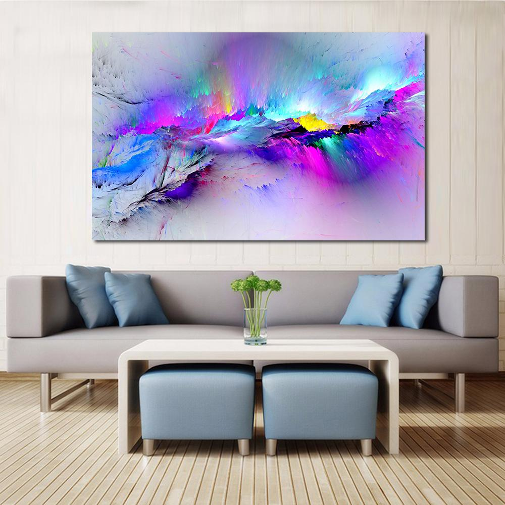JQHYART Wandbilder Für Wohnzimmer Abstrakte Ölgemälde Wolken Bunte Leinwand  Kunst Wohnkultur Kein Rahmen