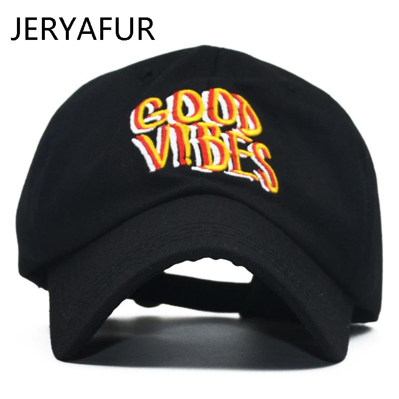 2018 JERYAFUR New Summer Black Dad Hat Men s Embroidery Letter GOOD VIBES  Baseball Cap For Women Cotton Snapback Hat Wholesale Ball Caps Fitted Caps  From ... e6cca9591a1