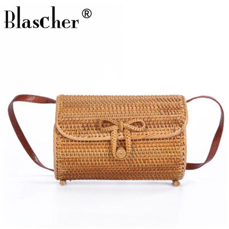 Blascher Fashion Woven Handbags Crossbody Shoulder Bags Summer Straw Weave  Cylindrical Women S Handbags Retro Beach Tote DEA35 Luxury Handbags Leather  ... 7fdb744c12327