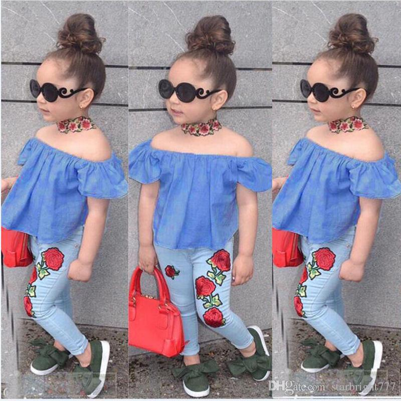 e8f2b8e56408 2019 2018 Fashion Baby Girl Denim Flower Off Shoulder Tops T Shirt + Rose  Flower Pants Outfits Summer Kids Girls Clothing Boutique Costume From ...
