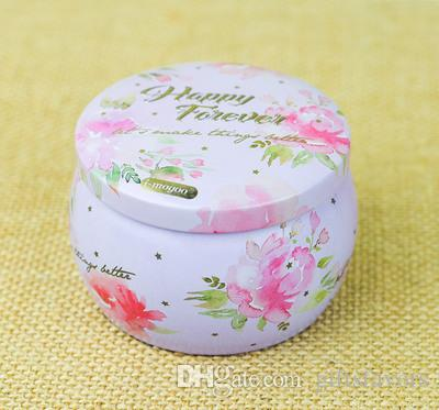Wedding flower tea tin containers box wholesales for favors gifts package Portable Drum design