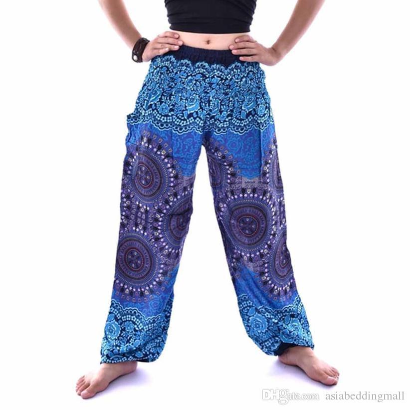 94ec2ab3c1 Pantaloni uomo donna Pantaloni boho hippie pantaloni harem thai pantaloni  Stampa cotone pantaloni larghi pantaloni elastici donna