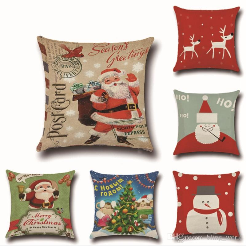 christmas pillow case retro linen cushion covers square decorative pillow covers christmas decorations elk santa clause 8 designs yw95 pillowcase pattern - Christmas Decorative Pillows