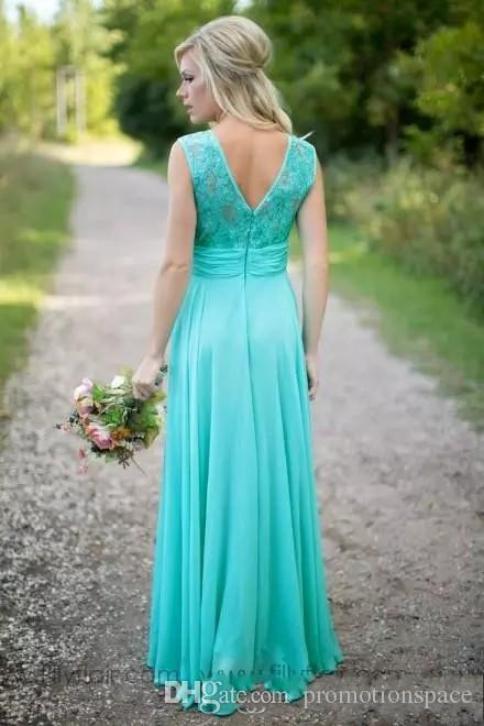2019 País barato Turquesa Hortelã Dama de Honra Vestidos Ilusão Neck Lace Frisado Top Chiffon Longo Plus Size Maid of Honor Wedding Party Dress