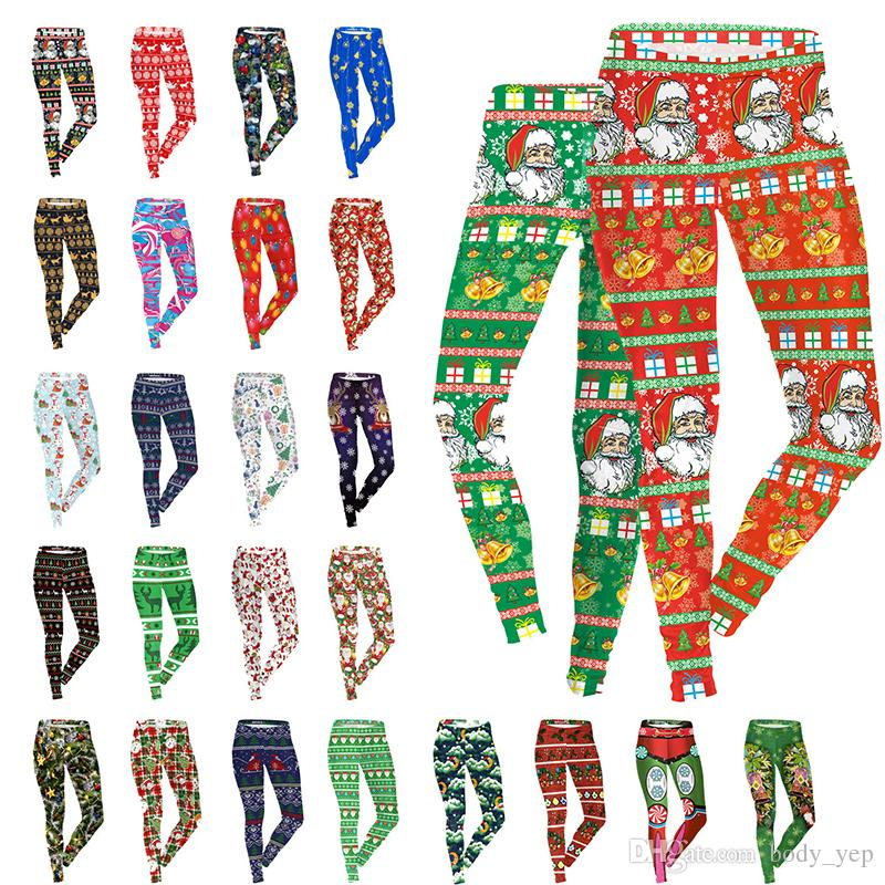 2c655294aca1c Christmas Leggings Women Santa 3D Pencil Pants Snowflake Elk Tights Women  Print Foot Pants Elastic Jeggings Sexy Stretch Skinny Slim Jegging Christmas  ...